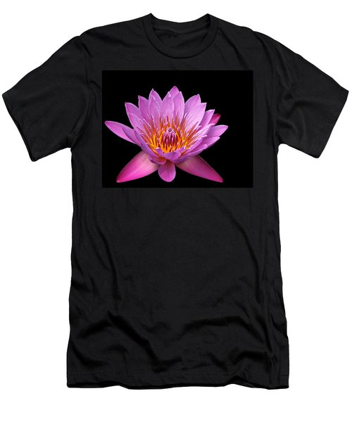 Men's T-Shirt (Slim Fit) featuring the photograph Pink Lady On Black by Judy Vincent
