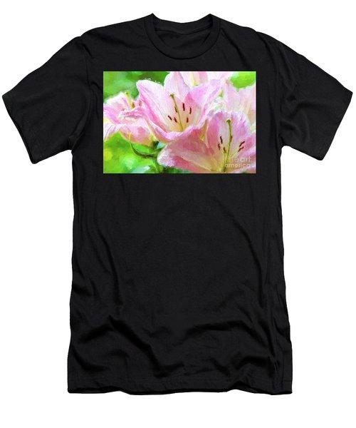 Pink Lilies Digital Painting Impasto Men's T-Shirt (Athletic Fit)