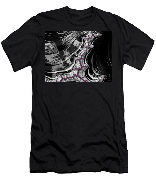 Pink On Black And White Fractal Abstract Men's T-Shirt (Athletic Fit)