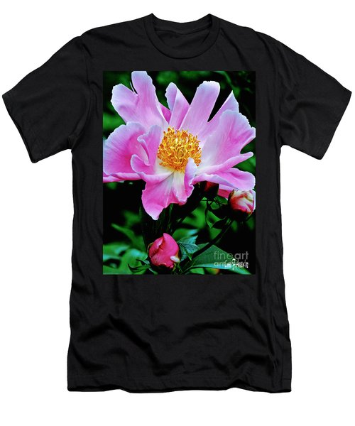 Pink Peony Garden  Men's T-Shirt (Slim Fit) by Carol F Austin