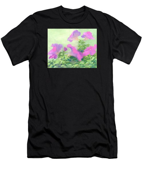 Pink Petunias Beautiful Flowers Art Colorful Original Garden Floral Flower Artist K. Joann Russell  Men's T-Shirt (Athletic Fit)