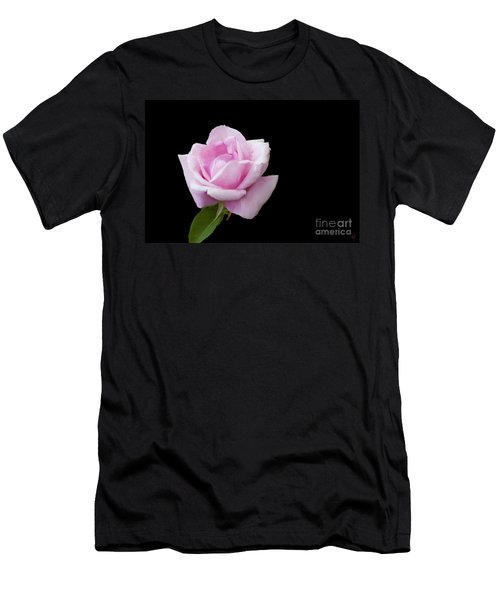 Pink Rose On Black Men's T-Shirt (Athletic Fit)