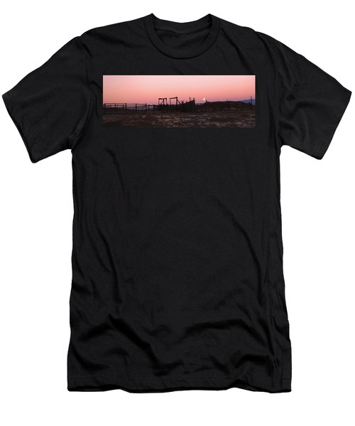 Pink Sunset Over Corral Men's T-Shirt (Slim Fit) by Cathy Anderson