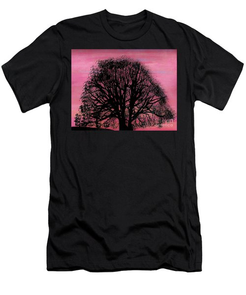 Men's T-Shirt (Slim Fit) featuring the drawing Pink Sunset Tree by D Hackett