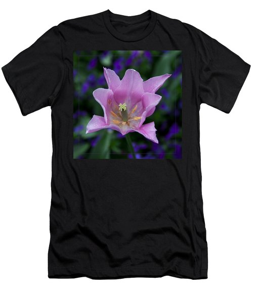 Pink Tulip Flower With A Spot Of Green Fine Art Floral Photography Print Men's T-Shirt (Athletic Fit)