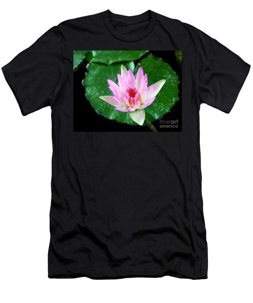 Men's T-Shirt (Slim Fit) featuring the photograph Pink Waterlily Flower by David Lawson