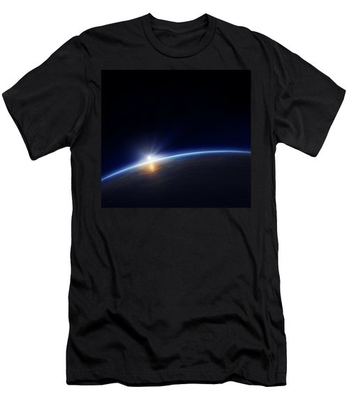 Planet Earth With Rising Sun Men's T-Shirt (Athletic Fit)