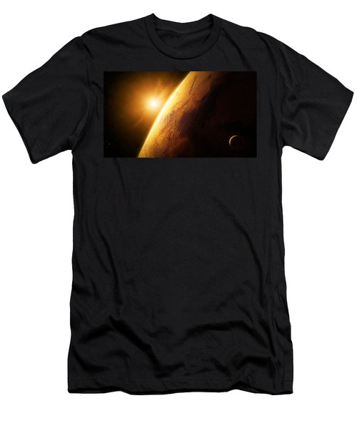 Planet Mars Close-up With Sunrise Men's T-Shirt (Athletic Fit)