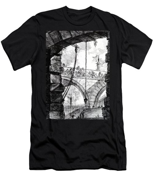 Plate 4 From The Carceri Series Men's T-Shirt (Slim Fit) by Giovanni Battista Piranesi