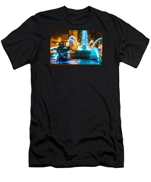 Plaza Blue Fountain Men's T-Shirt (Slim Fit) by Steven Bateson