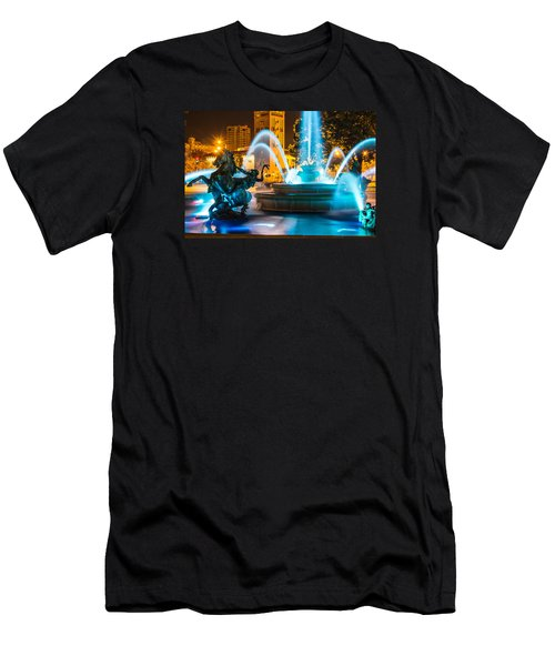 Plaza Blue Fountain Men's T-Shirt (Athletic Fit)