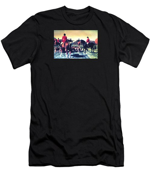 Men's T-Shirt (Slim Fit) featuring the photograph Plum Run Hunt Opening Day by Angela Davies