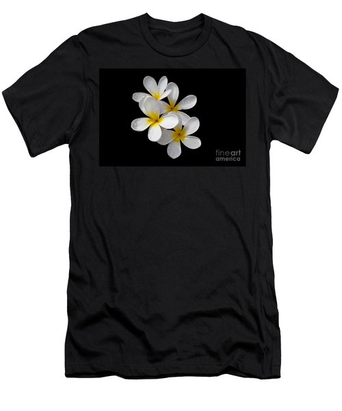 Men's T-Shirt (Slim Fit) featuring the photograph Plumerias Isolated On Black Background by David Millenheft