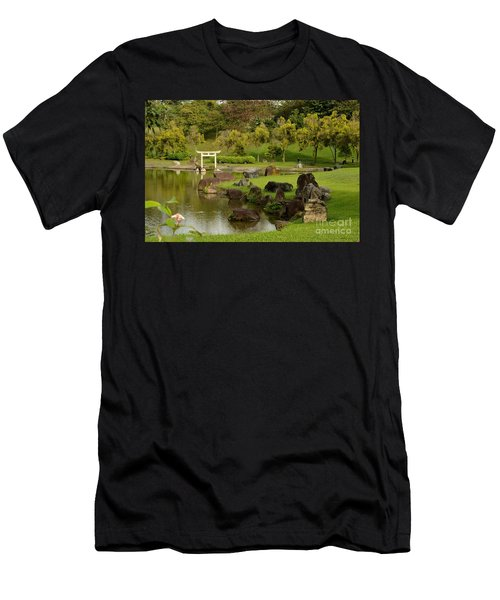 Pond Rocks Grass And Japanese Arch Singapore Men's T-Shirt (Athletic Fit)
