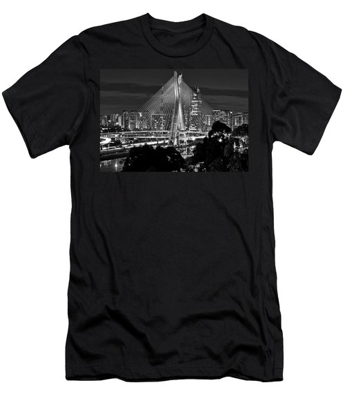 Sao Paulo - Ponte Octavio Frias De Oliveira By Night In Black And White Men's T-Shirt (Athletic Fit)