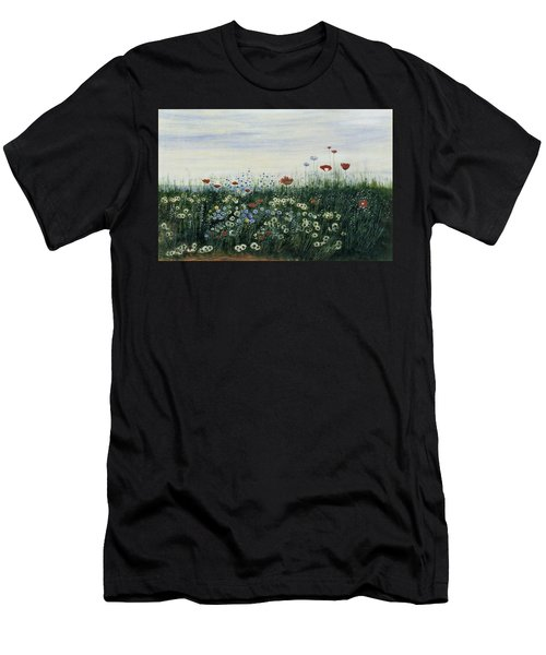 Poppies, Daisies And Other Flowers Men's T-Shirt (Athletic Fit)