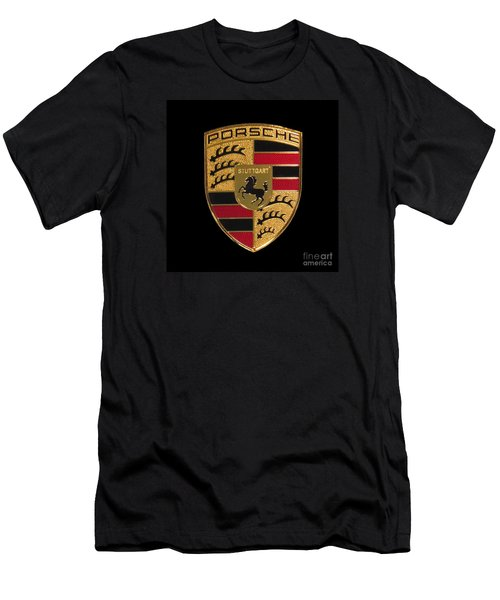 Porsche Emblem - Black Men's T-Shirt (Slim Fit) by Scott Cameron
