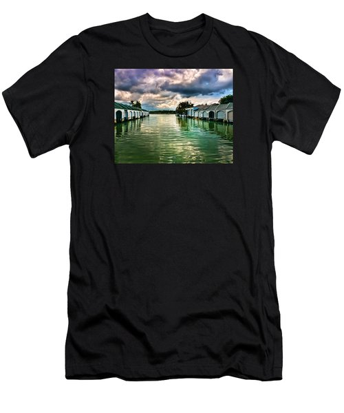 Storm Clouds Over  Port Royal Boathouses In Naples Men's T-Shirt (Athletic Fit)