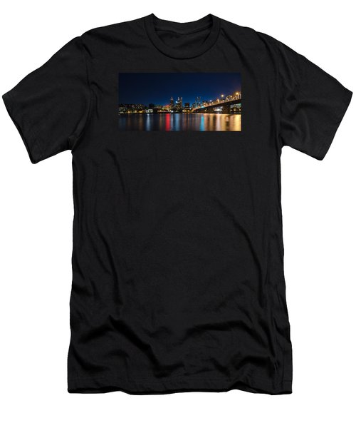 Portland Oregon Nightscape Men's T-Shirt (Slim Fit) by Don Schwartz