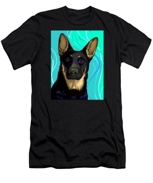 Portrait Of A German Shepherd Dog Men's T-Shirt (Slim Fit) by Karon Melillo DeVega
