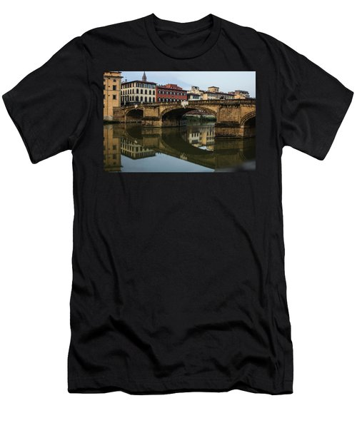 Postcard From Florence - Arno River And Ponte Santa Trinita  Men's T-Shirt (Athletic Fit)