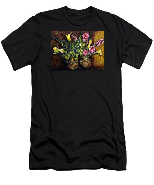 Men's T-Shirt (Slim Fit) featuring the painting Pots And Flowers by Harsh Malik