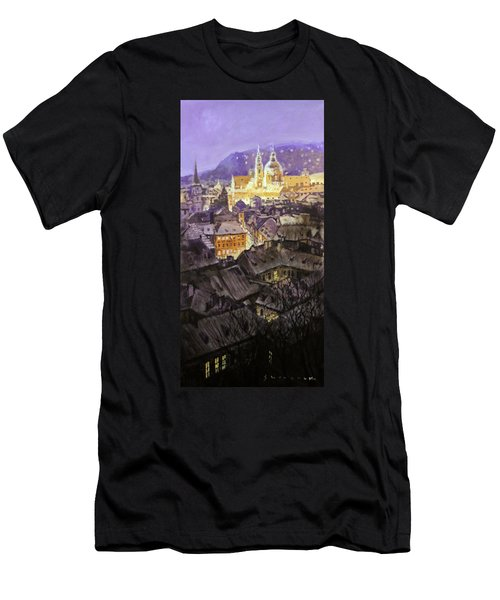 Prague Mala Strana  Night Light  Men's T-Shirt (Athletic Fit)