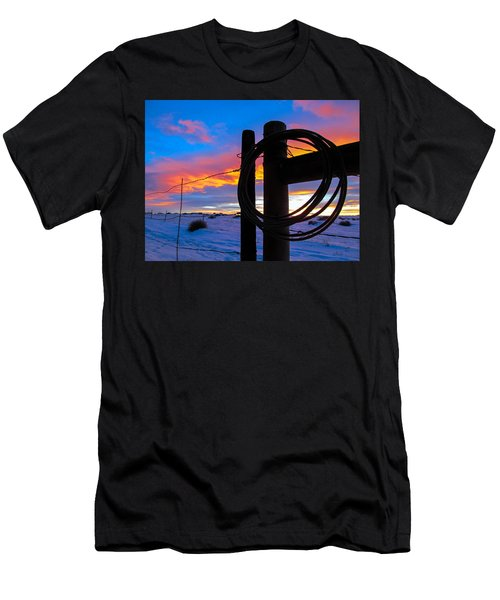 Prairie Fence Sunset Men's T-Shirt (Athletic Fit)