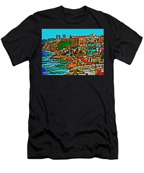 Old San Juan Puerto Rico Walled City Men's T-Shirt (Slim Fit) by Carol F Austin