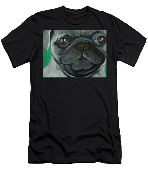 Men's T-Shirt (Slim Fit) featuring the painting PUG by Leslie Manley