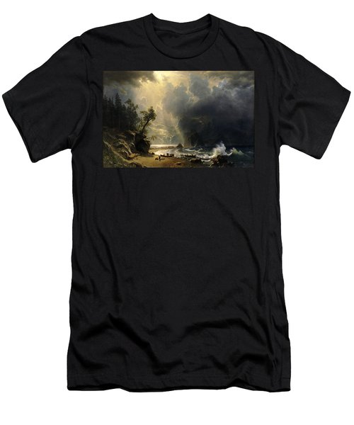 Puget Sound On The Pacific Coast Men's T-Shirt (Slim Fit) by Albert Bierstadt