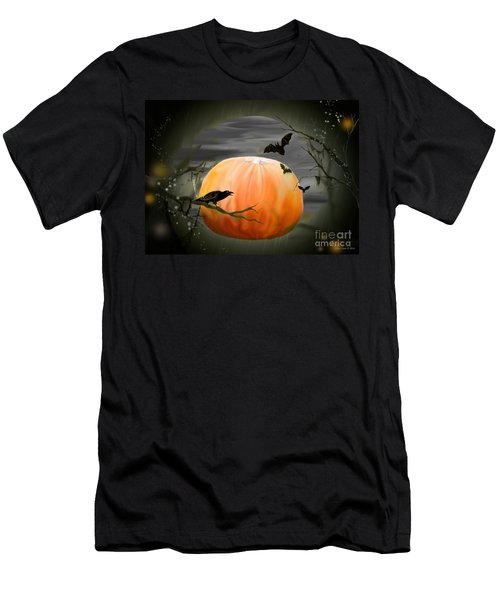 Men's T-Shirt (Slim Fit) featuring the photograph Pumpkin And Moon Halloween Art by Annie Zeno