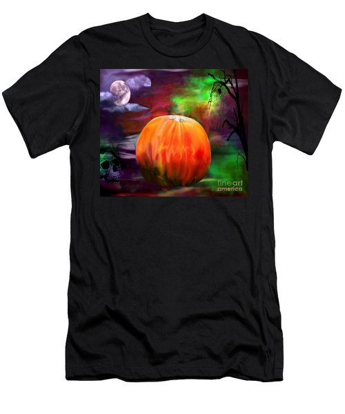 Men's T-Shirt (Slim Fit) featuring the photograph Pumpkin Skull Spider And Moon Halloween Art by Annie Zeno