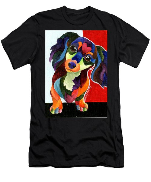 Puppy Love Long Haired Dachshund Men's T-Shirt (Athletic Fit)