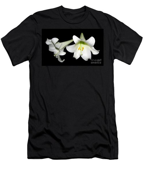 Men's T-Shirt (Slim Fit) featuring the photograph Pure White Easter Lilies by Rose Santuci-Sofranko