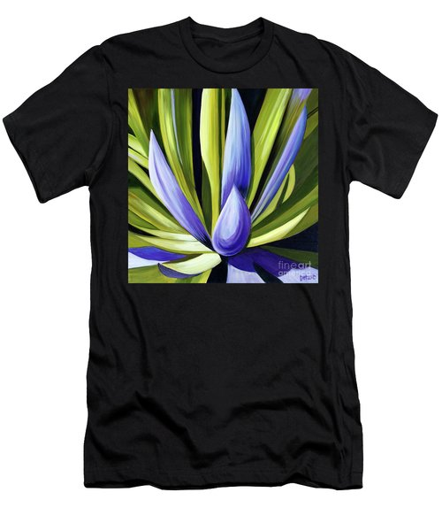 Purple Cactus Men's T-Shirt (Slim Fit) by Debbie Hart