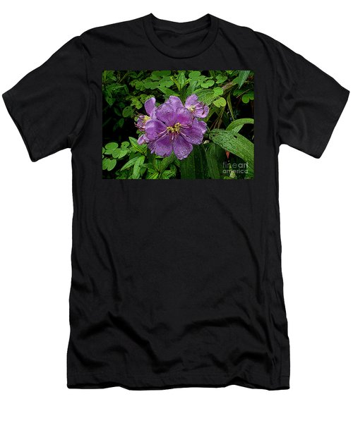 Men's T-Shirt (Slim Fit) featuring the photograph Purple Flower by Sergey Lukashin