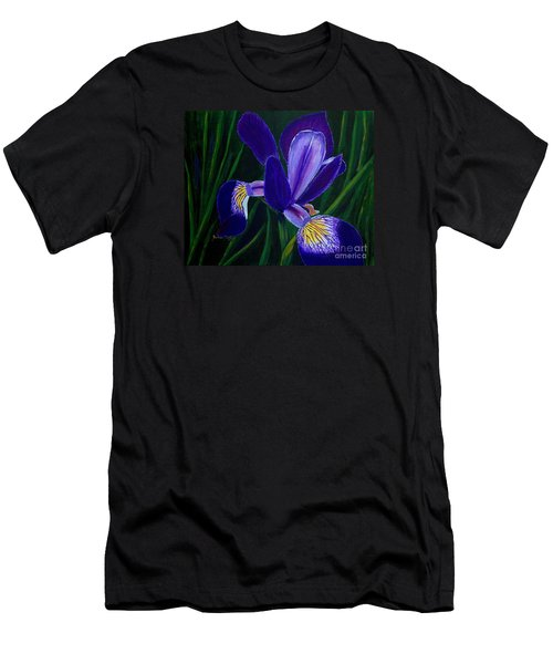 Men's T-Shirt (Slim Fit) featuring the painting Purple Iris by Barbara Griffin