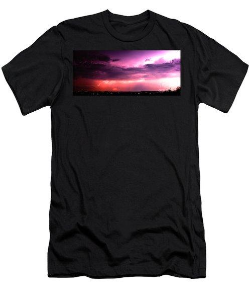 Purple Lightning Panorama Men's T-Shirt (Athletic Fit)