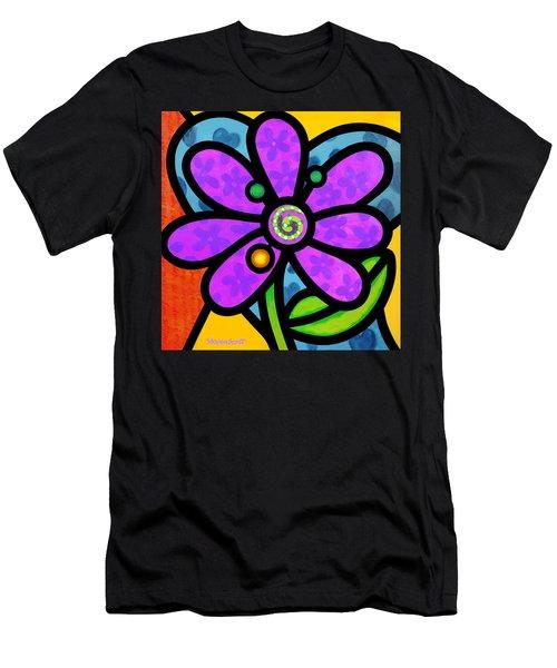Purple Pinwheel Daisy Men's T-Shirt (Athletic Fit)