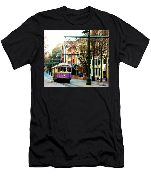 Men's T-Shirt (Slim Fit) featuring the photograph Purple Trolley by Barbara Chichester