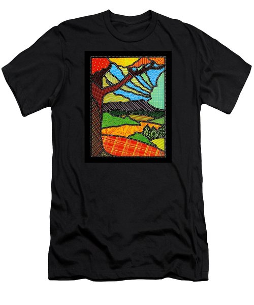 Quilted Bright Harvest Men's T-Shirt (Slim Fit) by Jim Harris