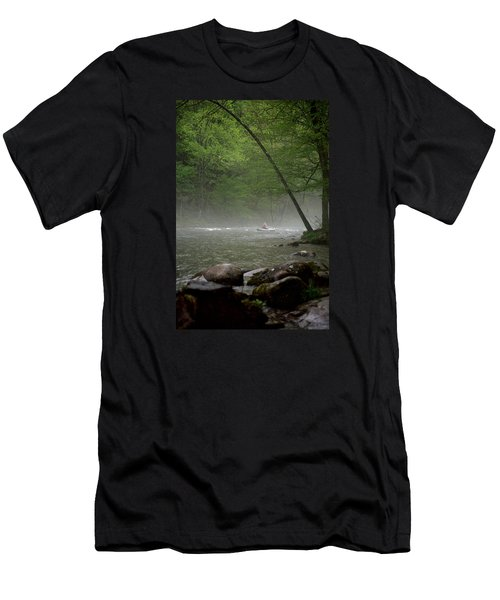 Rafting Misty River Men's T-Shirt (Slim Fit) by Lawrence Boothby