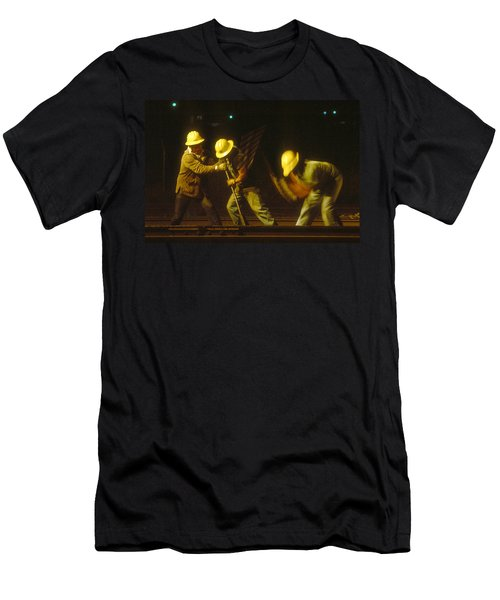 Men's T-Shirt (Slim Fit) featuring the photograph Railroad Workers by Mark Greenberg