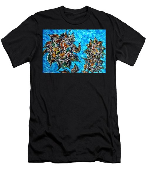 Rainbow Color Sunflowers Alcohol Inks Men's T-Shirt (Athletic Fit)