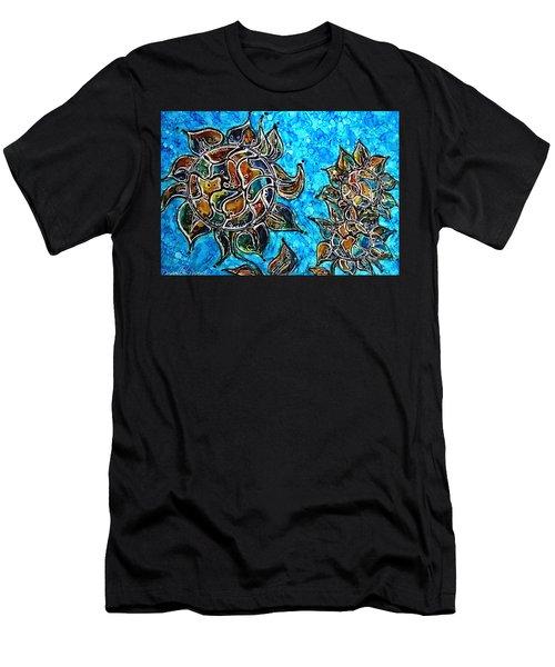 Rainbow Color Sunflowers Alcohol Inks Men's T-Shirt (Slim Fit) by Danielle  Parent