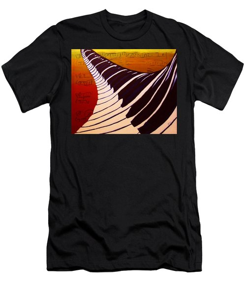 Men's T-Shirt (Slim Fit) featuring the painting Rainbow Piano Keyboard Twist In Acrylic Paint With Sheet Music Notes In Blue Yellow Orange Red by M Zimmerman MendyZ