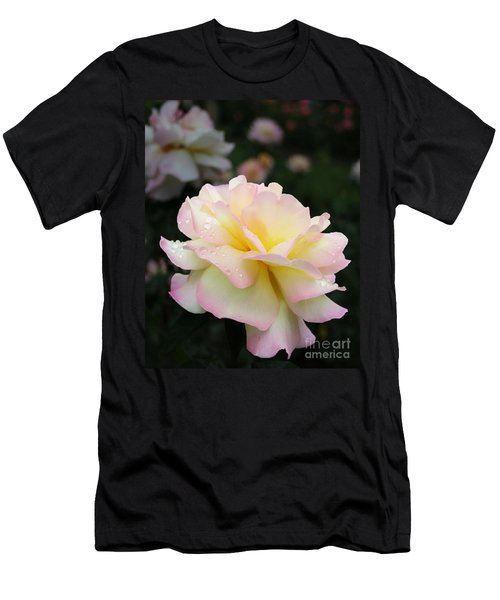 Men's T-Shirt (Slim Fit) featuring the photograph Raindrops On Rose Petals by Barbara McMahon