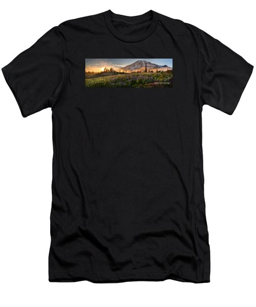Rainier Golden Light Sunset Meadows Men's T-Shirt (Slim Fit) by Mike Reid
