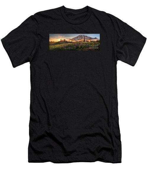 Rainier Golden Light Sunset Meadows Men's T-Shirt (Athletic Fit)